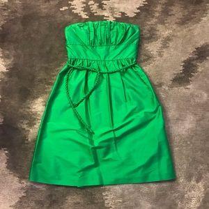 J.CREW Green 100% Silk Strapless Juliette Dress